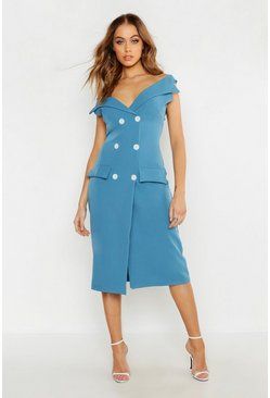 Womens Denim-blue Woven Double Breasted Midi Blazer Dress