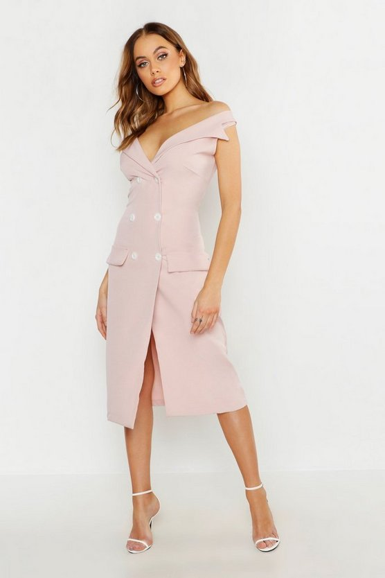 Womens Soft pink Woven Double Breasted Midi Blazer Dress