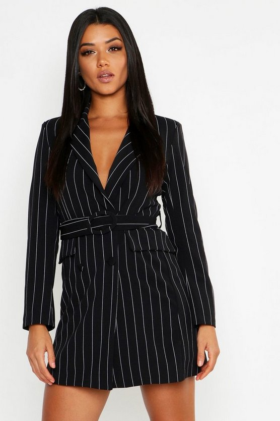 Womens Black Pinstripe O Ring Belted Blazer Dress
