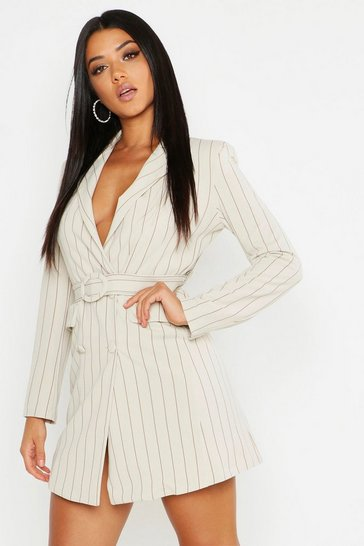 Womens Stone Pinstripe O Ring Belted Blazer Dress