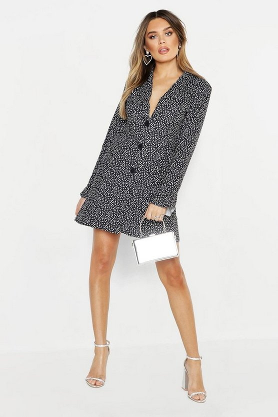 Black Spot Ruffle Collar & Sleeve Blazer Dress