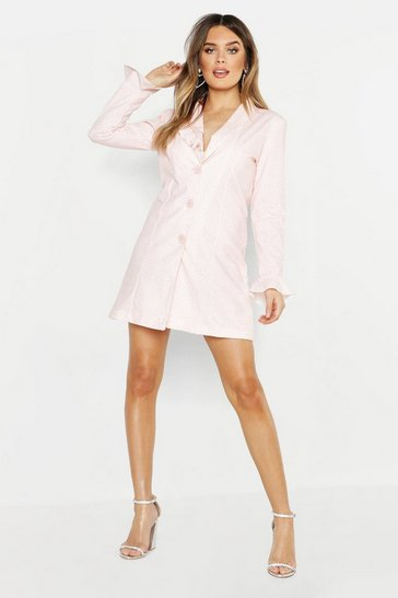 Womens Soft pink Spot Ruffle Collar & Sleeve Blazer Dress