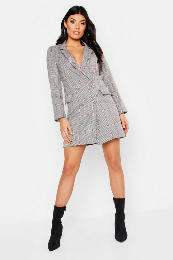 Womens Black Woven Pink Dog Tooth Blazer Dress