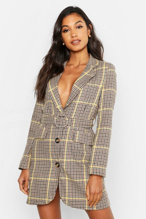 Womens Black Woven Yellow Check Round Belted Blazer Dress