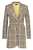 bc50d283efb17 ... Womens Black Woven Yellow Check Round Belted Blazer Dress alternative  image ...