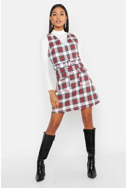 Womens Red Check Belted Pocket Pinny
