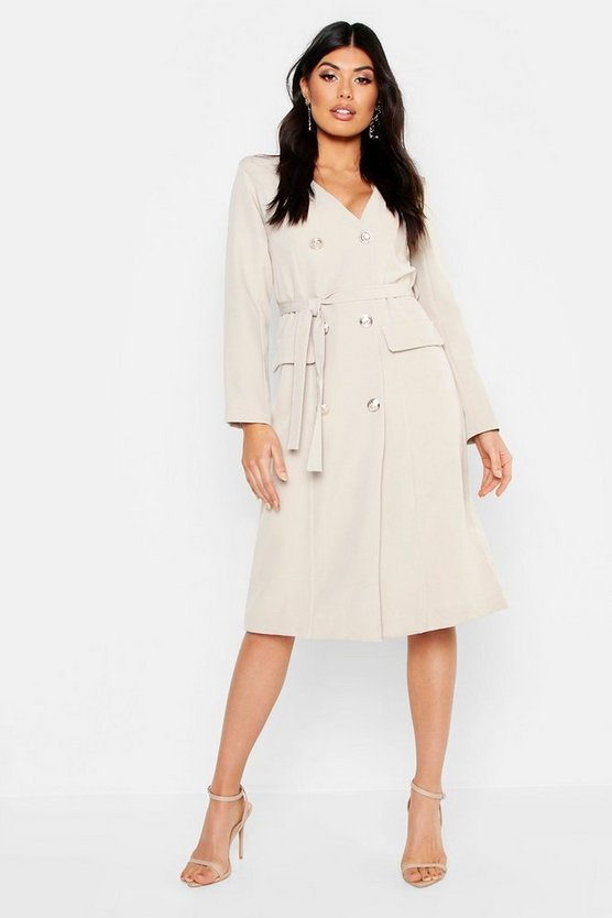 Woven Military Belted Blazer Midi Dress