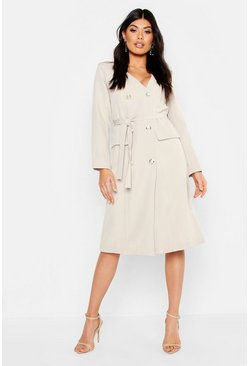 Womens Ecru Woven Military Belted Blazer Midi Dress