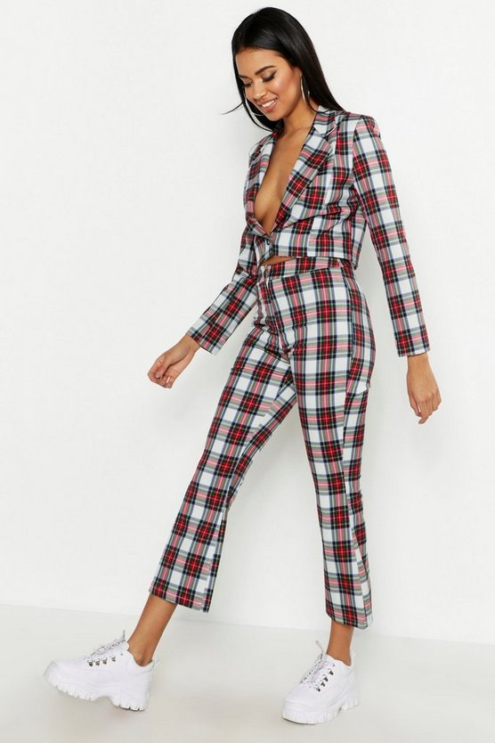 Womens Red Check Kick Flare Trouser