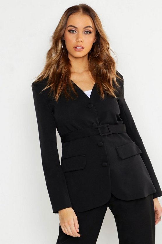 Womens Black Collarless Self Fabric Belted Blazer