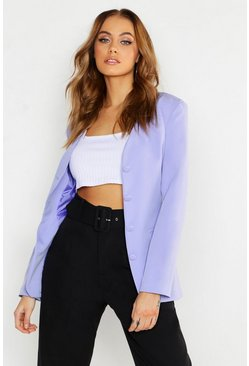 Womens Lilac Collarless Self Fabric Belted Blazer