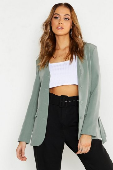Womens Sage Collarless Self Fabric Belted Blazer