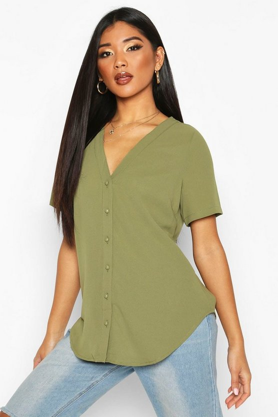 Khaki Short Sleeve Button Through Blouse
