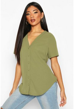 Womens Khaki Short Sleeve Button Through Blouse