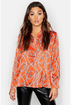 Womens Orange Chain Print Satin Shirt