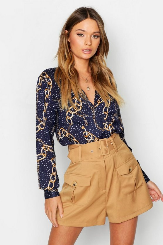 Polka Dot Chain Print Collarless Blouse