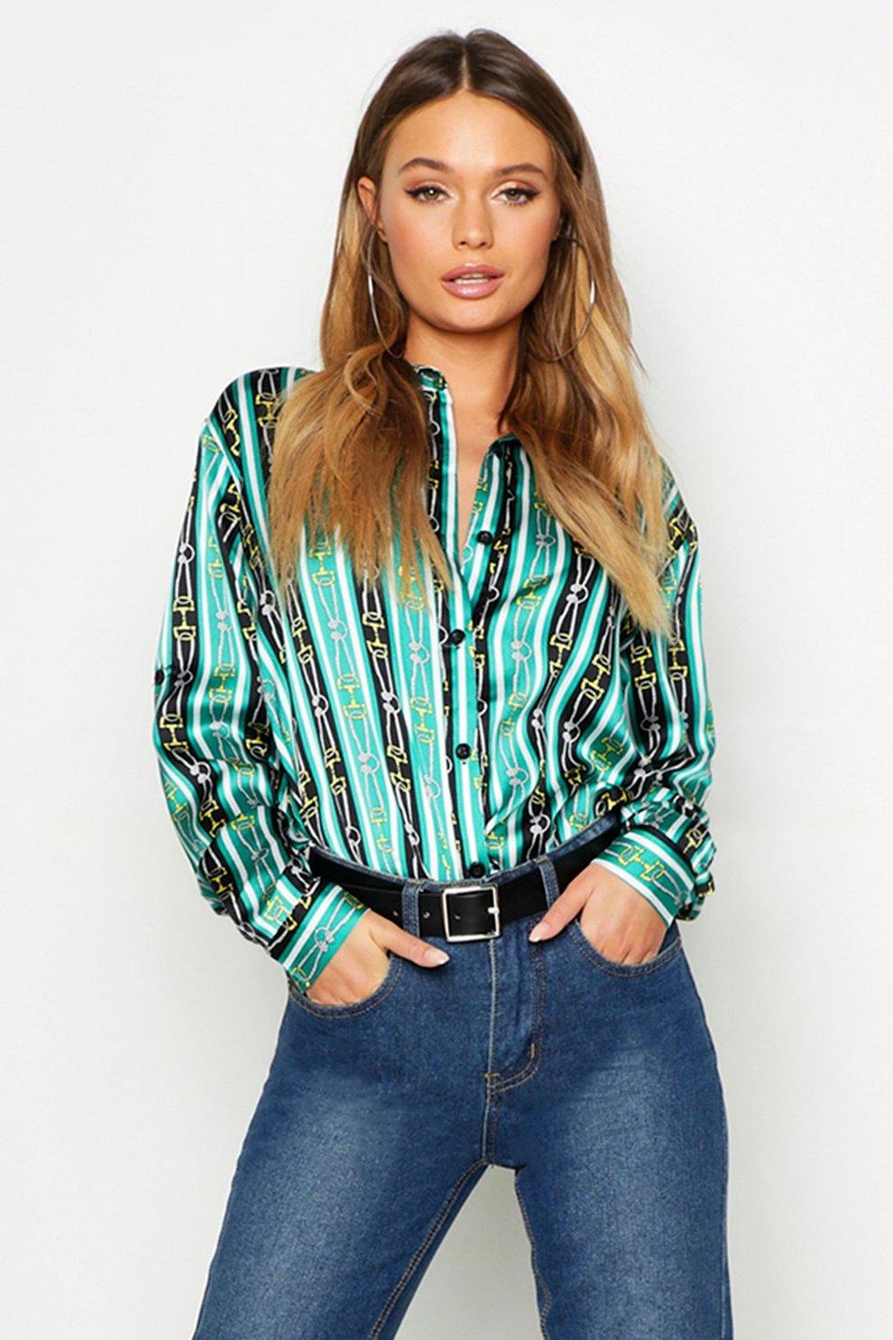 0b107ba6 Stripe Chain Print Satin Shirt   Boohoo