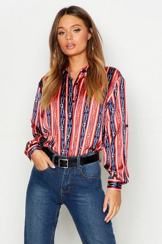 Stripe Chain Print Satin Shirt