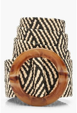 Womens Natural Aztec Raffia Straw Waist Belt