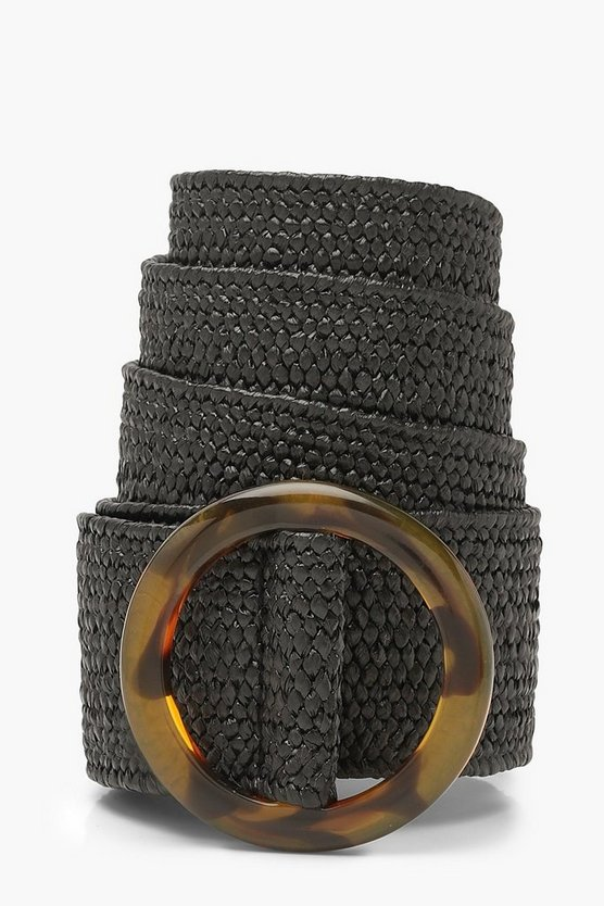 Womens Resin Buckle Straw Waist Belt