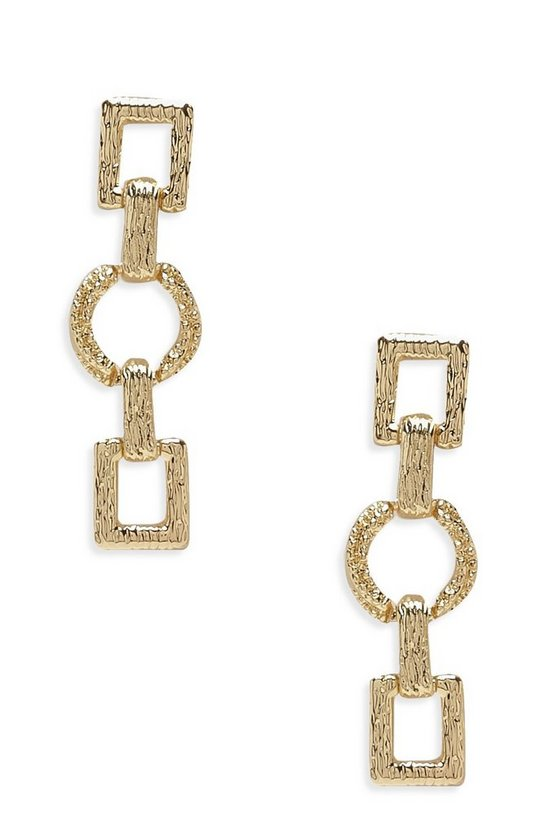 Gold Rectangle & Circle Linked Drop Earrings