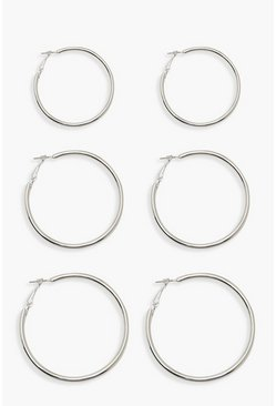 Womens Silver Mixed Size Hoop Pack