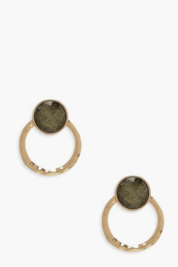 Womens Gold Stone & Hammered Circle Earrings