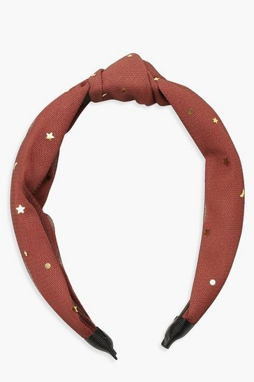 Womens Maroon Gold Star Knot Top Headband