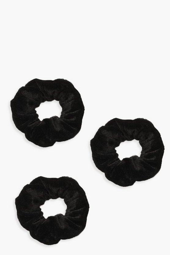 Womens Black 3 Pack Velvet Scrunchies