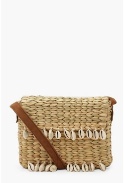 Dam Natural Shell Trim Straw Cross Body Bag