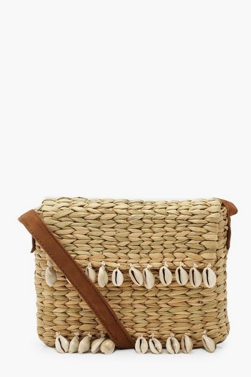 Womens Natural Shell Trim Straw Cross Body Bag