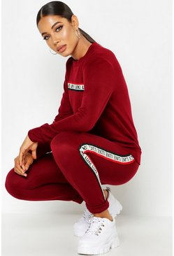 Womens Berry Slogan Tape Detail Lounge Set