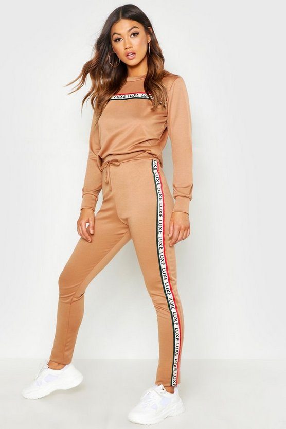Womens Camel Slogan Tape Detail Lounge Set