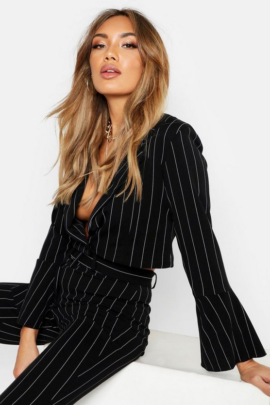 Womens Black Cropped Pinstripe Blazer