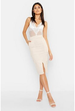 Womens Cream Cord Midi Skirt