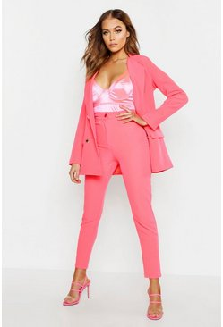 Womens Neon-pink Neon Tapered Pants