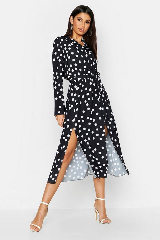 Womens Black Woven Large Spot Shirt Midi Tie Belt Dress