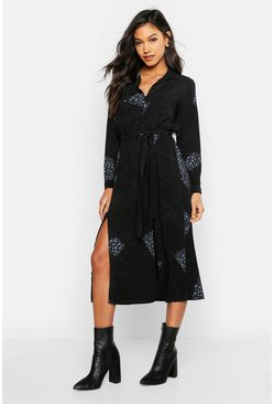 Womens Black Woven Animal Chain Print Belted Midi Shirt Dress