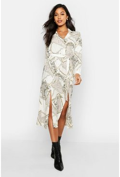 Woven Animal Chain Print Belted Midi Shirt Dress, Stone, ЖЕНСКОЕ