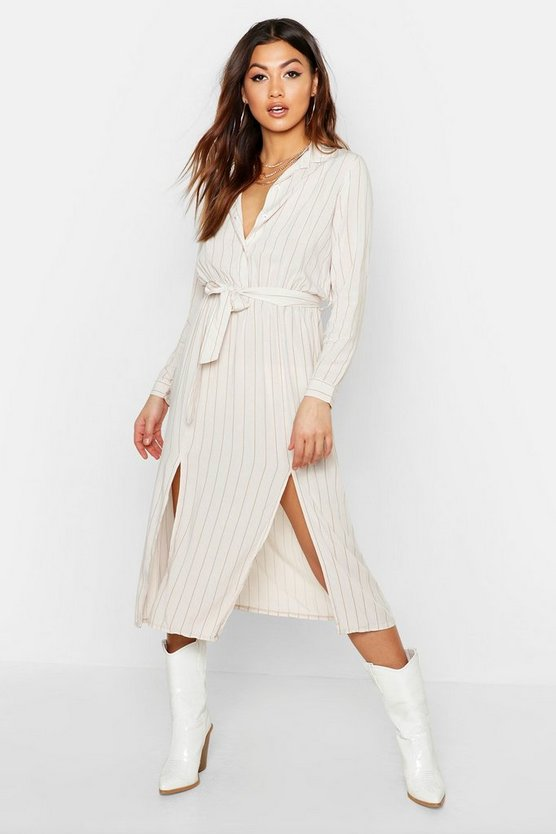 Womens Ecru Woven Pinstripe Tie Belt Midi Skirt Dress