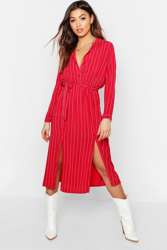 Woven Pinstripe Tie Belt Midi Skirt Dress
