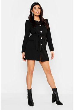 Womens Black Collarless Button Through Belted Blazer Dress