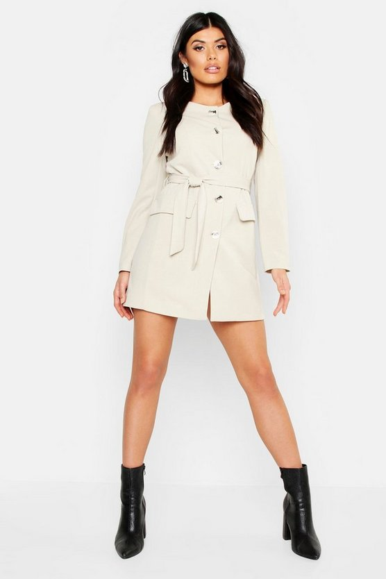 Womens Ecru Collarless Button Through Belted Blazer Dress