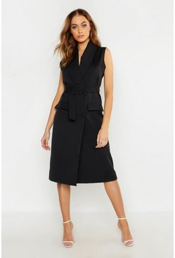 Woven Midi Belted Blazer Dress, Black, ЖЕНСКОЕ