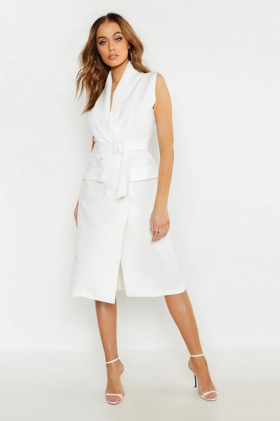 Womens Ivory Woven Midi Belted Blazer Dress
