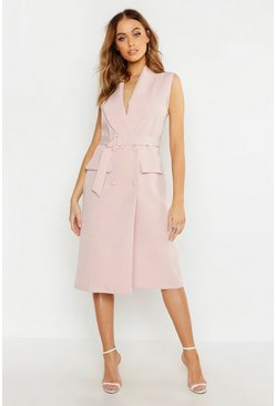 Woven Midi Belted Blazer Dress, Soft pink
