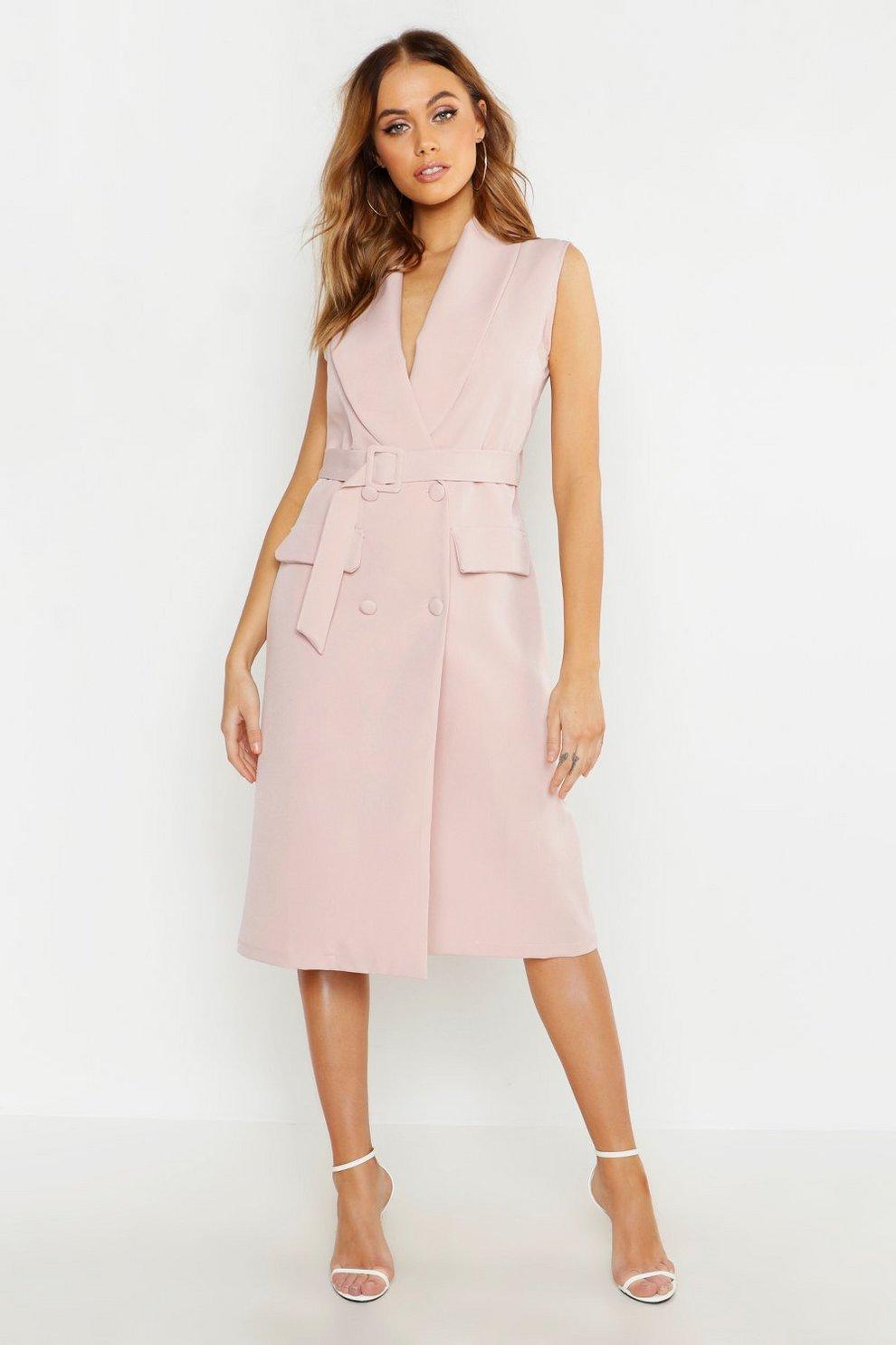 1a151dc8f7c0 Womens Soft pink Woven Midi Belted Blazer Dress