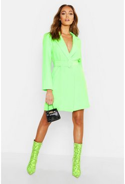 Neon Belted Blazer Dress, Neon-green