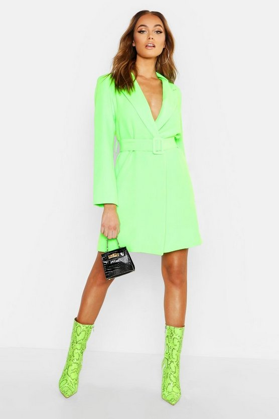 Womens Neon Belted Blazer Dress