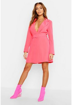 Neon Belted Blazer Dress, Neon-pink